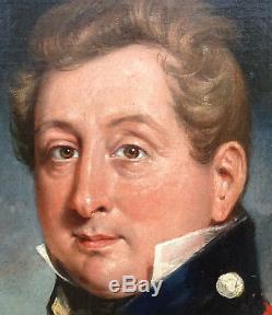 Auguste Monvoisin Portrait d'Officier Epoque Charles X Huile/toile XIXème siècle