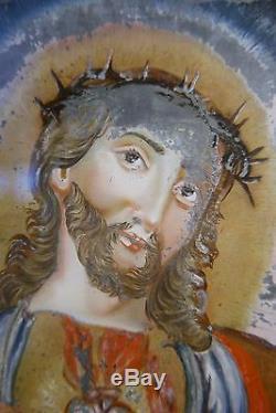 BEAU FIXÉ SOUS VERRE À PARCLOSE ÉPOQUE XIXème SACRÉ-COEUR CHRIST ART POPULAIRE