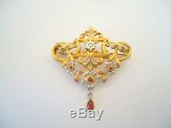 BELLE BROCHE ANCIENNE EN OR 18K RUBIS ET DIAMANTS EPOQUE XIX eme or 18 carats
