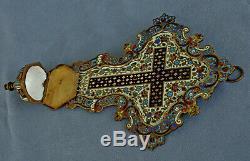 BENITIER Crucifix en Bronze et Emaux Cloisonnés Epoque FIn XIXème Siècle