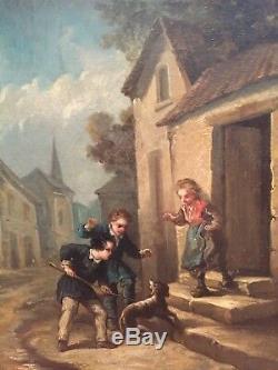 BOILLY, JULES (1796-1874) HUILE SUR TOILE ÉPOQUE XIXème ENFANTS DANS LA RUE