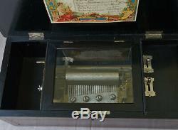 BOITE A MUSIQUE Type Cartel à Six Airs Coffret en Bois Epoque Fin XIXème Siècle