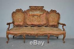 Banquette style Louis XV tapisserie et miroir époque fin XIXème