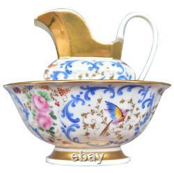 Bassin de toilette et son broc en porcelaine de Paris époque XIXème