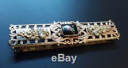 Belle boucle de ceinture ancienne en porcelaine peinte & pomponne, époque XIXème