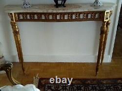 Belle console Louis XVI en bois doré époque XIXème