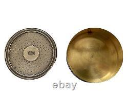 Boîte Circulaire en Argent Massif Couronne de Baron & Guillochée Époque XIX ème
