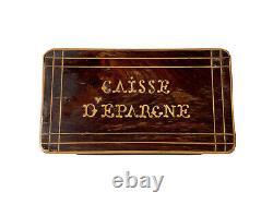 Boîte Tirelire Caisse dÉpargne Bois Marqueterie Époque XIXème Antique Money Box