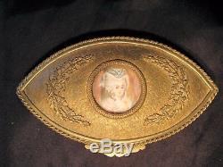 Boîte à bijoux en laiton avec miniature peinte époque XIX ème siècle