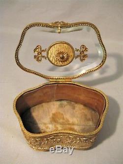 Boîte à bijoux en laiton doré et miniature porcelaine époque XIX ème siècle