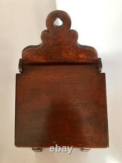 Boite à sel début XIXème, meuble époque Restauration en noyer massif, coffret
