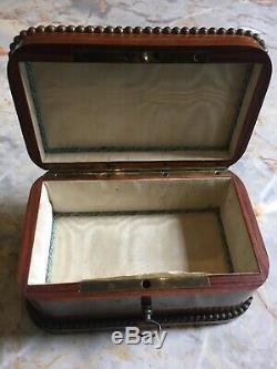 Boite coffret Bijoux ancien marqueterie Époque Napoléon III XIXème