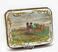 Boite en porcelaine de Sèvres aux scènes galantes et paysages d'époque XIXème