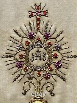 Bourse de Corporal Ostensoir IHS Broderie Liturgie Messe Religion Époque XIX ème