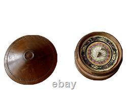 Boussole Cadran Solaire de Poche Bois & Papier Polychrome Science Époque XIX ème