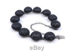 Bracelet ancien en argent massif et perles de jais époque XIXeme