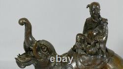 Bronze Chinois Ou Japonais, Dragon éléphant Avec Vieil Homme Sage, époque XIX èm