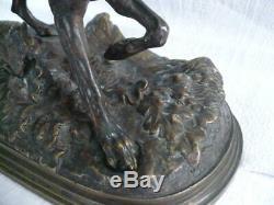 Bronze animalier époque XIXème SIGNÉ PIERRE JULES MENE CHIEN DE CHASSE