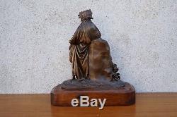 Bronze d'époque XIXème personnage mythologique la république pendule 31 cm
