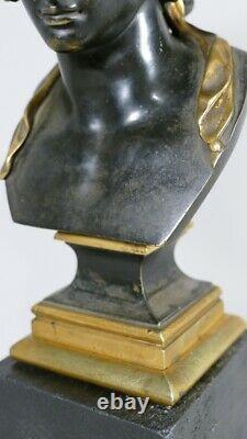 Buste d'après l'antique d'Antinoüs En Bronze Patiné Et Doré, époque XIX ème