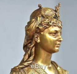 Buste en bronze patine dorée jeune femme orientales époque XIXème