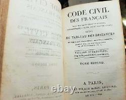 C1 NAPOLEON CODE CIVIL An XII 1804 RELIE Plein CUIR d epoque RARE