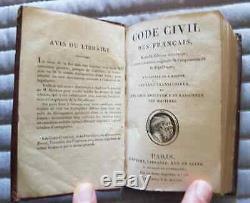 C1 NAPOLEON CODE CIVIL DES FRANCAIS 1805 Relie PLEIN CUIR D EPOQUE Bon Etat
