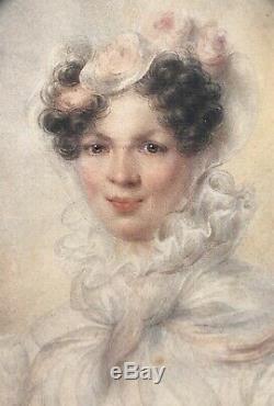 CORALY Miniature Aquarelle Portrait de Femme Peinture Époque Restauration XIXème