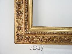 Cadre ancien bois et stuc doré de style italien époque XIXème, monté à clefs 1/2