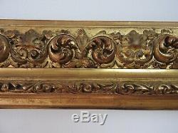 Cadre ancien bois et stuc doré de style italien époque XIXème, monté à clefs 2/2