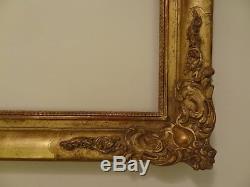 Cadre ancien d'époque XIXème en bois doré dorure à la feuille or dorigine