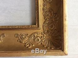 Cadre doré à la feuille époque Empire Restauration XIXème feuillure 17x13cm
