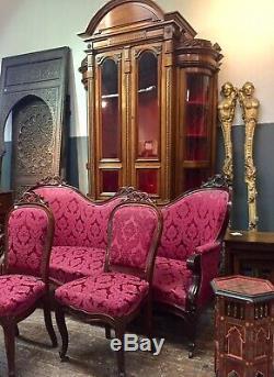 Canapé + deux chaises Napoléon III en acajou, époque XIXème siècle