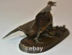 Canne avec ses 6 canetons bronze animalier par P. J Mêne. Époque XIXème