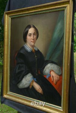 Caron Portrait de Femme d'Epoque Second Empire Ecole Française XIXème siècle HST