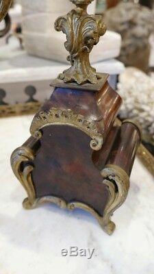 Cartel Et Ses Deux Chandeliers En Bronze Et Corne Style Louis XV, époque XIX ème