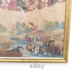 Carton d'Aubusson, Paysage à La Gouache Projet Tapisserie, époque XIX ème