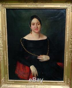 Catherine Mattau Portrait de Femme Epoque Louis Philippe XIXème siècle HST