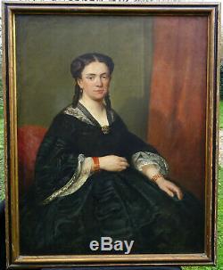 Charles Crauk Grand Portrait de Femme Epoque Second Empire HsT du XIXème siècle