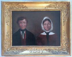 Charmant tableau peinture XIXème portrait de couple époque Empire Restauration