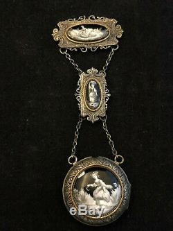 Châtelaine Porte Gousset Bijoux Epoque Napoléon III Emaux XIX eme Metal Argenté
