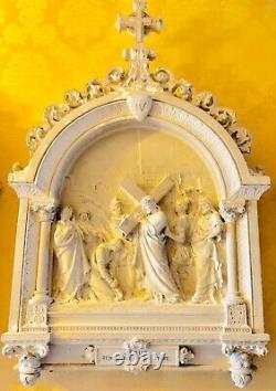 Chemin De Croix Jésus Christ, 14 Stations En Pltre D'époque Xixème Très Rares