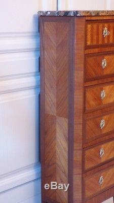 Chiffonnier De Style Transition En Frisage De Bois Précieux, époque Fin XIX ème