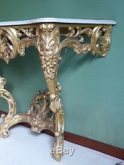 Console bois doré style Louis XV époque XIXème