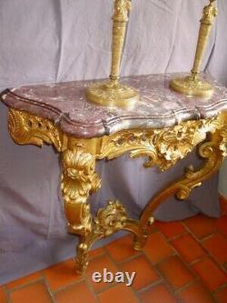 Console style Louis XV bois doré époque Napoléon III second Empire XIXéme