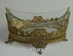 Coupe navette En Cristal Monture Cerclée Bronze Doré jardinière époque XIX ème
