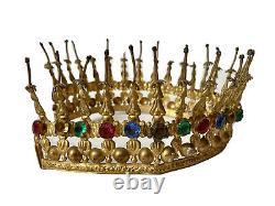 Couronne de Saint Statue Vierge Laiton Strass Église Époque XIXème Antique Crown
