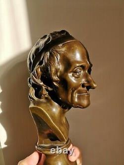 D'APRÈS HOUDON BUSTE EN BRONZE DE VOLTAIRE ÉPOQUE XIXème PHILOSOPHE FRANCE