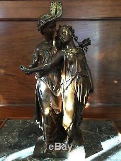 DUMAIGE, HENRY ÉTIENNE (1830-1888) STATUE DE VIERGES EN BRONZE ÉPOQUE XIXème
