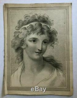 Dessin Ancien Original époque XIXème siècle Portrait de femme